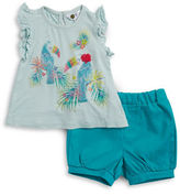 Petit Lem Baby Girls Two-Piece Textured Top and Shorts Set