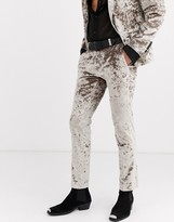 Twisted Tailor crushed velvet suit trousers in champagne-Yellow