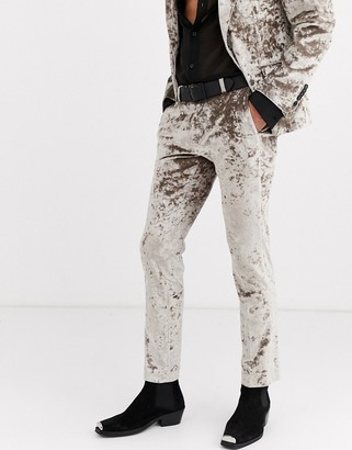 Twisted Tailor crushed velvet suit trousers in champagne
