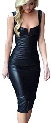 HOOUDO Womens Sexy Slim Fit Cocktail Bandage Leather V Neck Sleeveless Knee Length Black ClubParty Clubwear NightMidi Dress(M