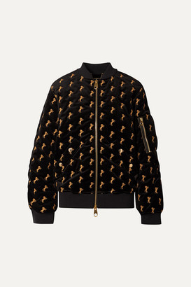 Chloé Embroidered Cotton-blend Velvet Bomber Jacket - Black