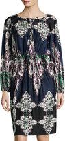 Melissa Masse Lace-Neck Boho-Print Dress, Thistle Boho