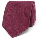 Drakes Drake's - 8cm Slub Silk Tie - Burgundy