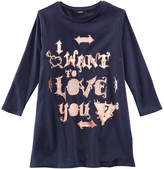 GUESS Foil-Print I Want To Love You Long-Sleeve T-Shirt, Big Girls
