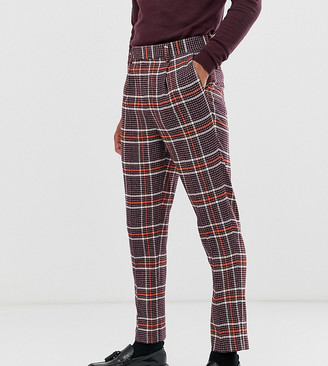 ASOS DESIGN Tall skinny smart trousers in wool mix check in purple
