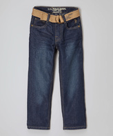 U.S. Polo Assn. Blue Wash Belted Straight-Leg Jeans - Boys