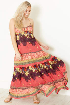Free People Give A Little Maxi Slip Dress Red XS