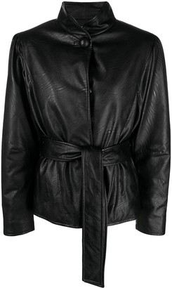 Gina Belted Faux-Leather Jacket