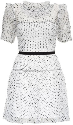 Self-Portrait Black and White Dress in Polka Dot Tulle
