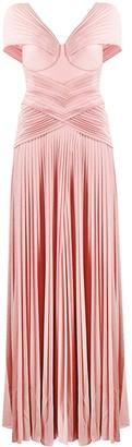 Elisabetta Franchi shimmer micro pleat gown