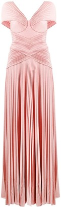 Elisabetta Franchi Shimmer Micro Pleat Gown