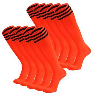 Dsource Unisex Soccer Socks Knee High Stripe Football Tube Socks 6 Pack White