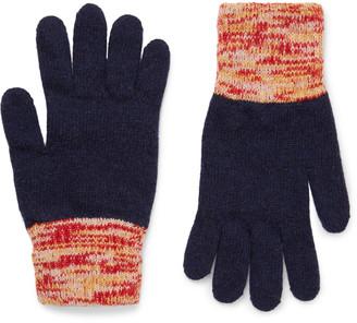Oliver Spencer Varley Melange-trimmed Wool-blend Gloves - Blue