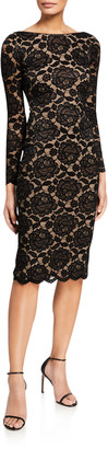 Dress the Population Emery Velvet Lace Long-Sleeve Sheath Dress