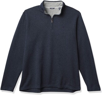 Izod Men's Big & Tall Big Advantage Performance Quarter Zip Sweater Fleece Solid Pullover