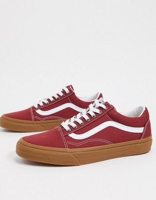 Vans Old Skool trainer with gum sole in red