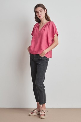 Velvet by Graham & Spencer Kalila Woven Linen Ruffle Sleeve Top