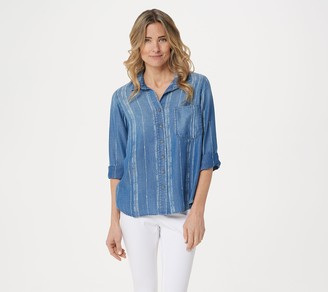 Side Stitch Tencera Printed 3/4-Sleeve Button Front Tunic
