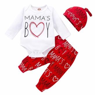 Needra Sales NEEDRA Newborn Infant Baby Boys 1st Valentine's Day Letter Romper Pants Hat Outfits Set