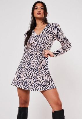 Missguided Zebra Print Half Button Tea Dress