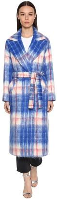 Long Checked Mohair Blend Coat