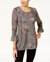 Style&Co. Style & Co Printed Ruffled Mesh Top, Created for Macy's