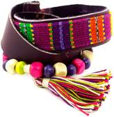 Novica Purple Leather and Multicolored Cotton Wrap Beaded Bracelet, 'Carnaval in Atitlan', 22.5""