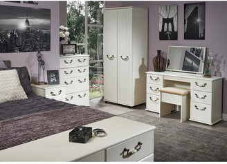 Swift Broadway PartAssembled 4 Piece Package - 3 Door Mirrored Wardrobe, 5 Drawer Chest and 2 Bedside Chests