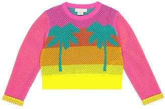 Stella McCartney Kids Intarsia cotton mesh sweatshirt