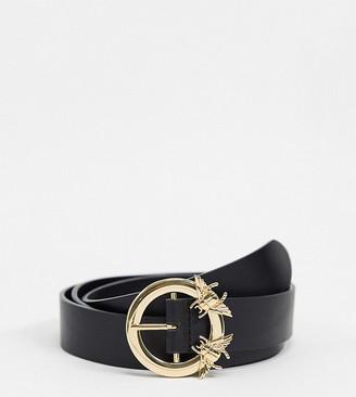 ASOS DESIGN Curve bug detail buckle waist and hip jeans belt in black