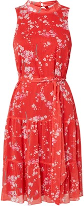 Wallis PETITE Coral Floral Print Halter Neck Dress