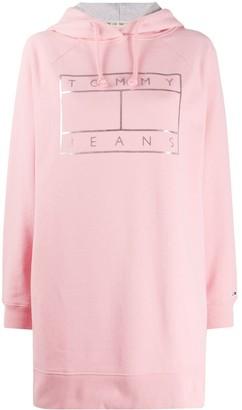 Tommy Jeans Hooded Logo Sweatshirt Dress
