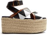 Marni Zigzag-appliqué espadrille flatform sandals