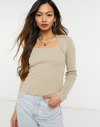 And other stories & ecovero square neck knitted top in beige