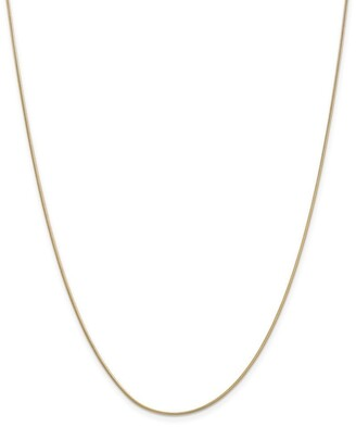 Curata 14k Yellow Gold Solid 0.9mm Round Snake Chain Necklace