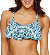 IBIZA Ibiza Solid Flounce Swimsuit Top-Juniors