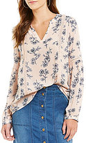 Blu Pepper Floral-Printed Long-Sleeve Peasant Blouse