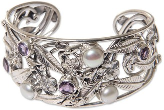 Novica Amethyst and Cultured Pearl Cuff Bracelet, 'Temple Garden'