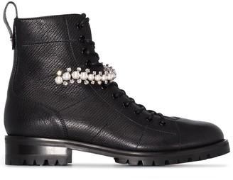 Jimmy Choo Cruz pearl-detail combat boots