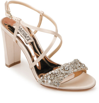 Badgley Mischka Carolyn Embellished Satin Block-Heel Evening Sandals
