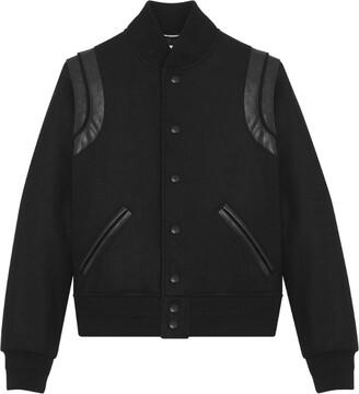 Saint Laurent Leather-Trim Bomber Jacket