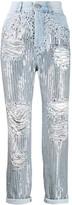 Balmain high-rise sequin boyfriend jeans