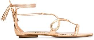 Aquazzura Wrap-Tie Flat Sandals