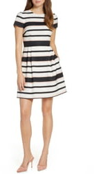 1901 Stripe Short Sleeve Fit & Flare Dress