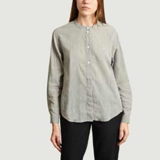 Folk Grey Plain Grandad Blouse Top - 2