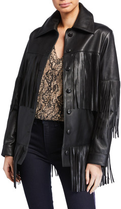 Dan Cassab Rimon Lamb Leather Fringe Jacket, Black