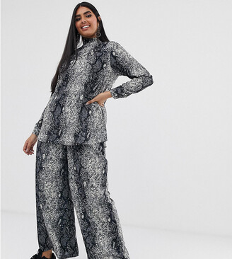 Verona Curve wide leg pant co-ord in python print