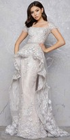 Mac Duggal Cap Sleeve Vintage Lace Peplum Column Dress