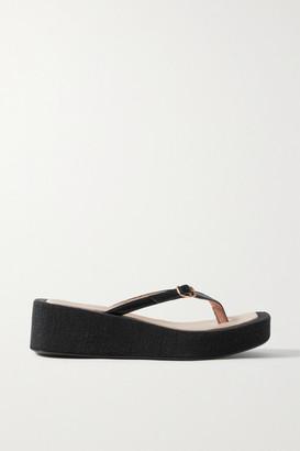 Jacquemus Les Tatanes Lin Leather Platform Flip Flops