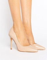 London Rebel Open Waisted Patent Nude Court Shoe Heel
